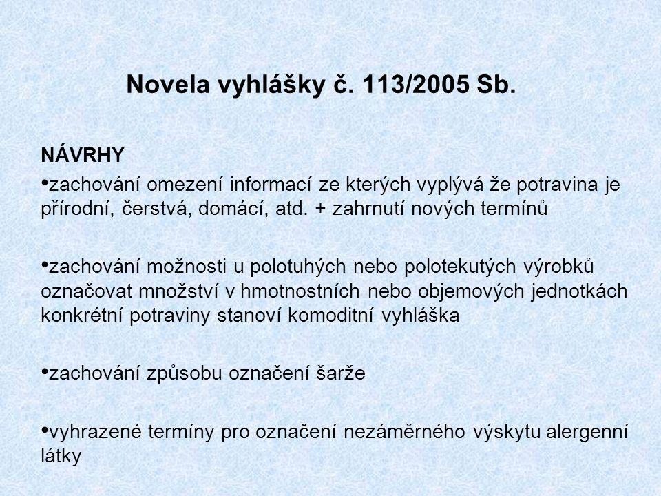 Novela vyhlášky č. 113/2005 Sb.