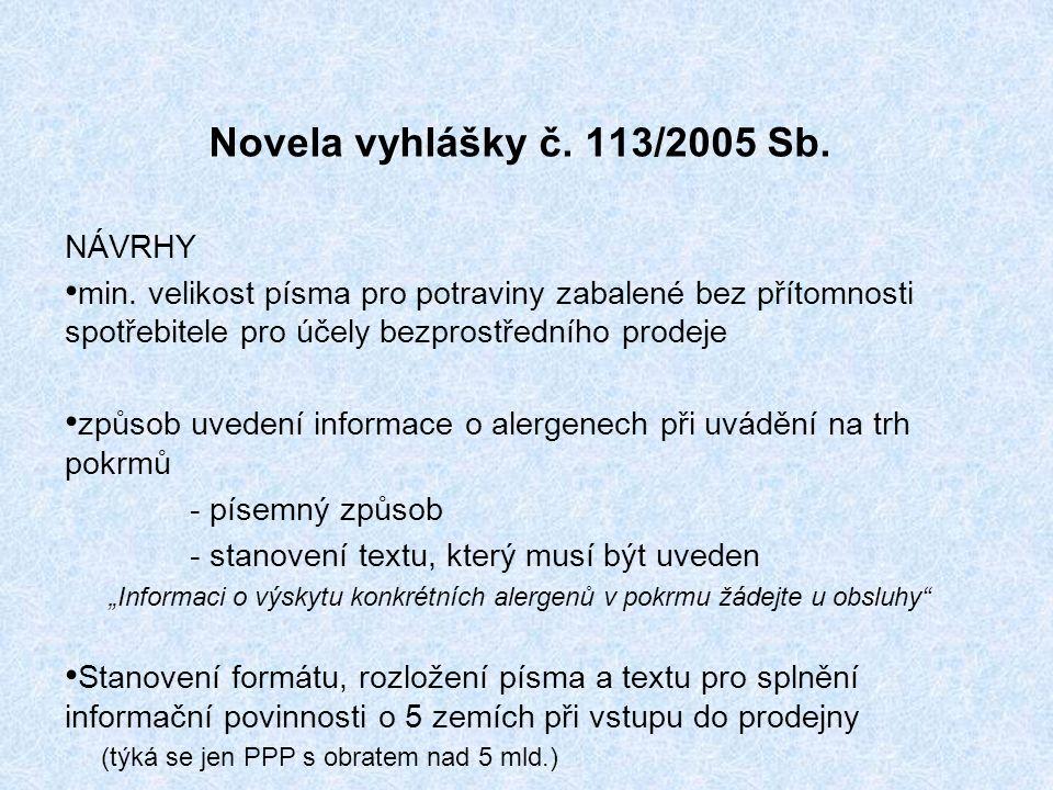 Novela vyhlášky č. 113/2005 Sb. NÁVRHY min.