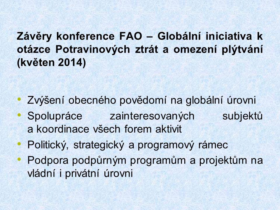 Závěry konference FAO – Globální iniciativa k otázce Potravinových ztrát a omezení plýtvání (květen 2014) Zvýšení obecného povědomí na globální úrovni Spolupráce zainteresovaných subjektů a koordinace všech forem aktivit Politický, strategický a programový rámec Podpora podpůrným programům a projektům na vládní i privátní úrovni