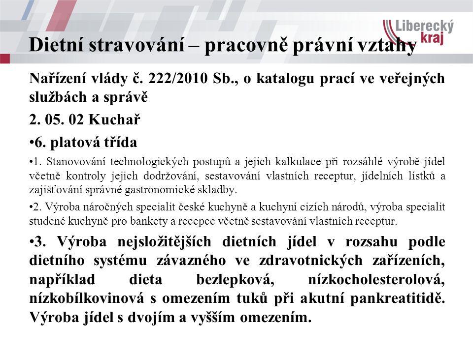 Dietní stravování – pracovně právní vztahy Nařízení vlády č. 222/2010 Sb., o katalogu prací ve veřejných službách a správě 2. 05. 02 Kuchař 6. platová