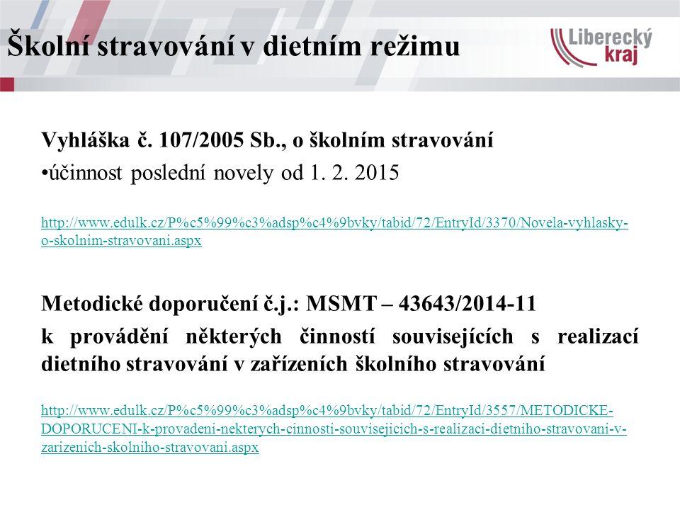Vyhláška č. 107/2005 Sb., o školním stravování účinnost poslední novely od 1. 2. 2015 http://www.edulk.cz/P%c5%99%c3%adsp%c4%9bvky/tabid/72/EntryId/33