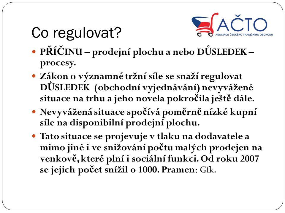 Co regulovat. P Ř Í Č INU – prodejní plochu a nebo D Ů SLEDEK – procesy.