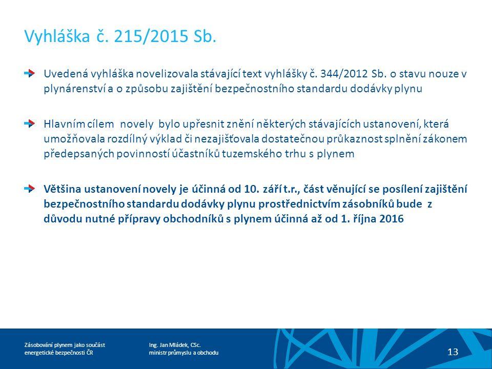 Ing. Jan Mládek, CSc. ministr průmyslu a obchodu 13 Zásobování plynem jako součást energetické bezpečnosti ČR Vyhláška č. 215/2015 Sb. Uvedená vyhlášk