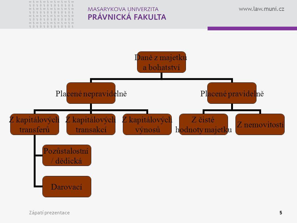 www.law.muni.cz Zápatí prezentace5 Daně z majetku a bohatství Placené nepravidelně Z kapitálových transferů Pozůstalostní / dědická Darovací Z kapitál