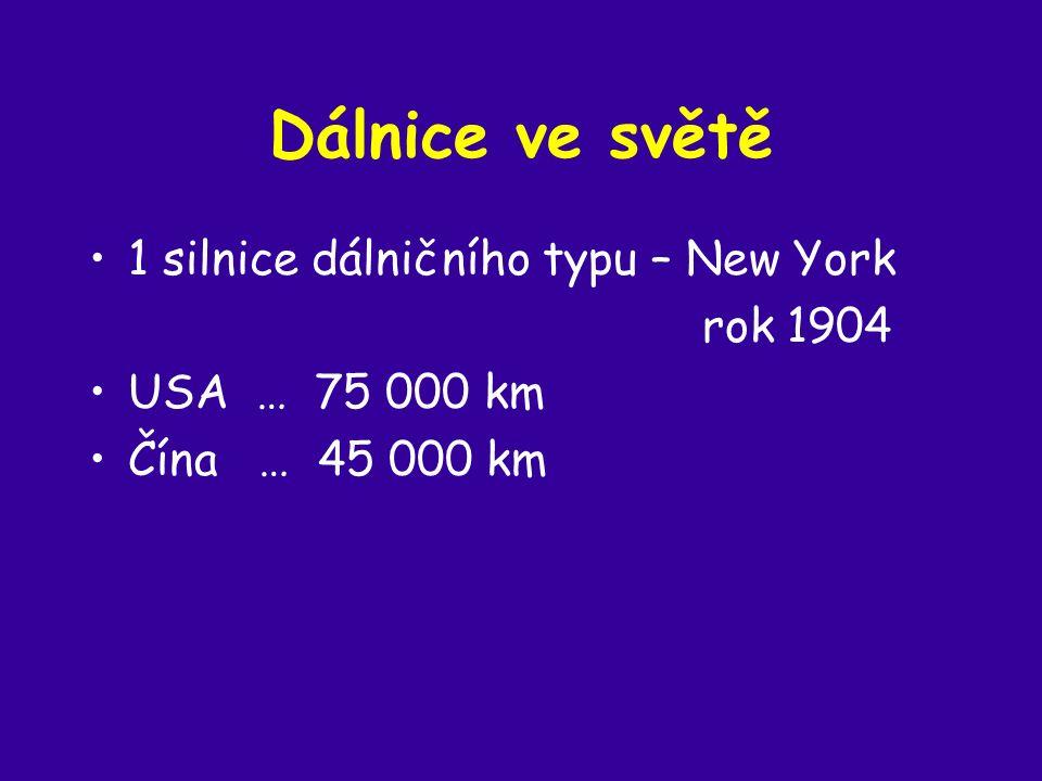 Dálnice ve světě 1 silnice dálničního typu – New York rok 1904 USA … 75 000 km Čína … 45 000 km