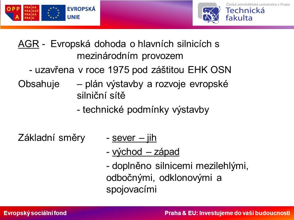 Evropský sociální fond Praha & EU: Investujeme do vaší budoucnosti AGR - Evropská dohoda o hlavních silnicích s mezinárodním provozem - uzavřena v roce 1975 pod záštitou EHK OSN Obsahuje – plán výstavby a rozvoje evropské silniční sítě - technické podmínky výstavby Základní směry- sever – jih - východ – západ - doplněno silnicemi mezilehlými, odbočnými, odklonovými a spojovacími