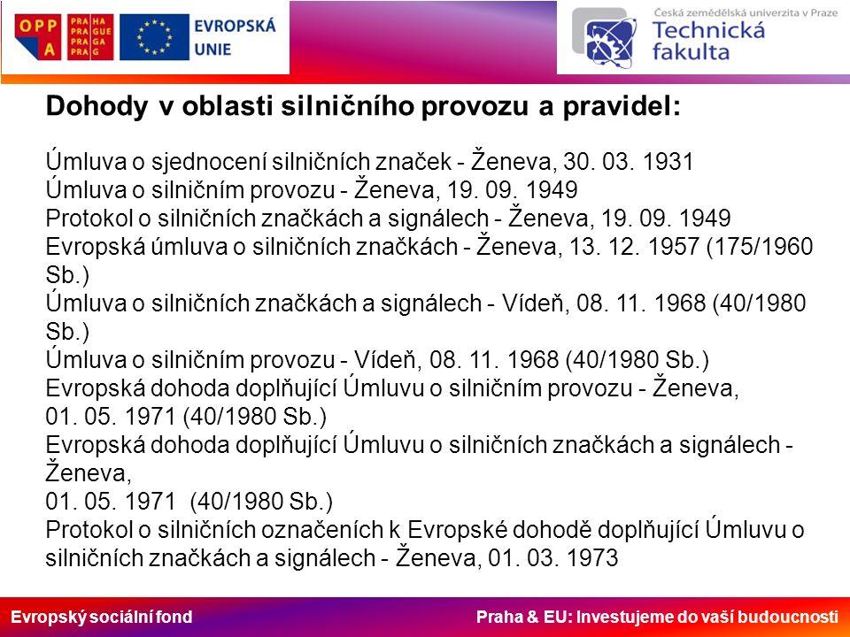 Evropský sociální fond Praha & EU: Investujeme do vaší budoucnosti Dohody v oblasti silničního provozu a pravidel: Úmluva o sjednocení silničních značek - Ženeva, 30.