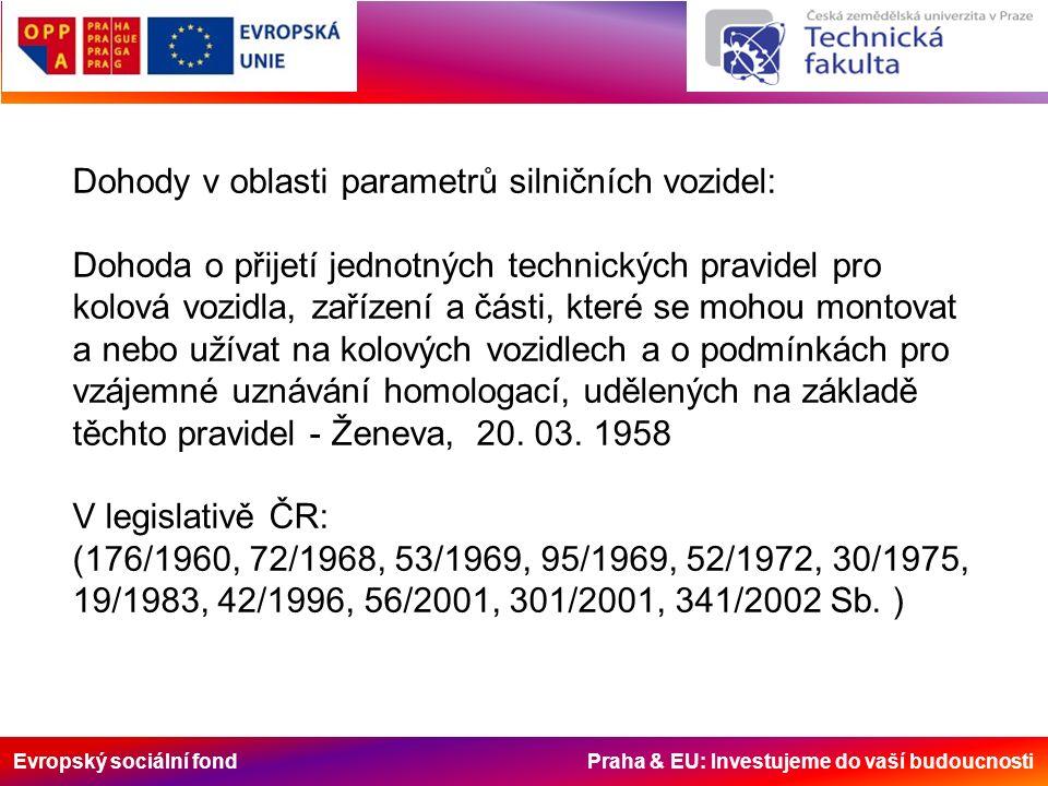 Evropský sociální fond Praha & EU: Investujeme do vaší budoucnosti Dohody v oblasti parametrů silničních vozidel: Dohoda o přijetí jednotných technick