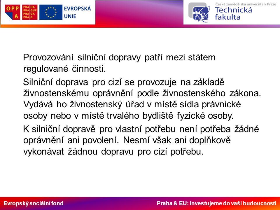 Evropský sociální fond Praha & EU: Investujeme do vaší budoucnosti Provozování silniční dopravy patří mezi státem regulované činnosti. Silniční doprav
