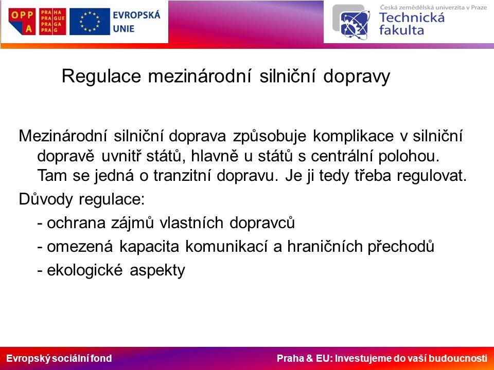 Evropský sociální fond Praha & EU: Investujeme do vaší budoucnosti Regulace mezinárodní silniční dopravy Mezinárodní silniční doprava způsobuje komplikace v silniční dopravě uvnitř států, hlavně u států s centrální polohou.