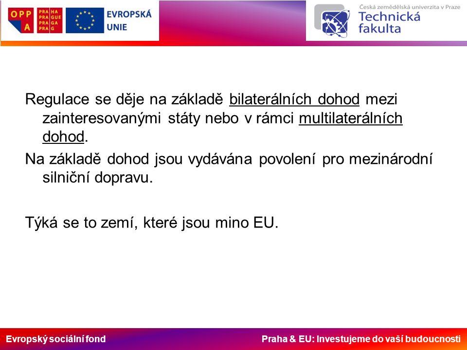 Evropský sociální fond Praha & EU: Investujeme do vaší budoucnosti Regulace se děje na základě bilaterálních dohod mezi zainteresovanými státy nebo v