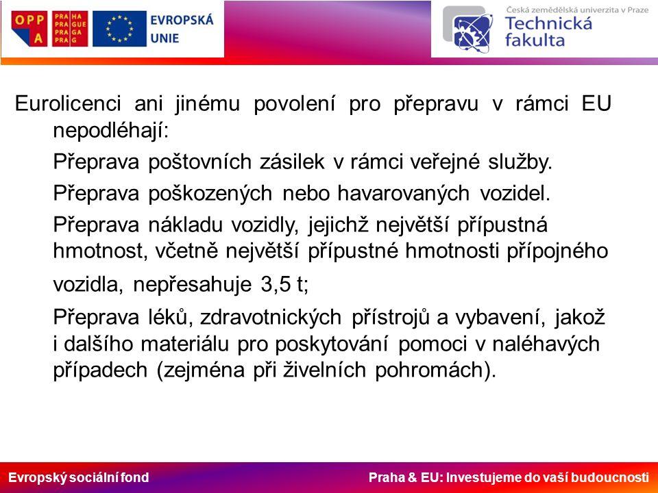 Evropský sociální fond Praha & EU: Investujeme do vaší budoucnosti Eurolicenci ani jinému povolení pro přepravu v rámci EU nepodléhají: Přeprava poštovních zásilek v rámci veřejné služby.
