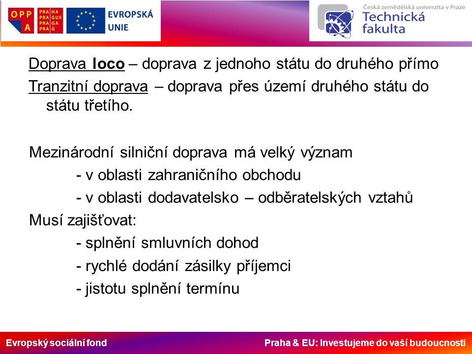 Evropský sociální fond Praha & EU: Investujeme do vaší budoucnosti Doprava loco – doprava z jednoho státu do druhého přímo Tranzitní doprava – doprava přes území druhého státu do státu třetího.