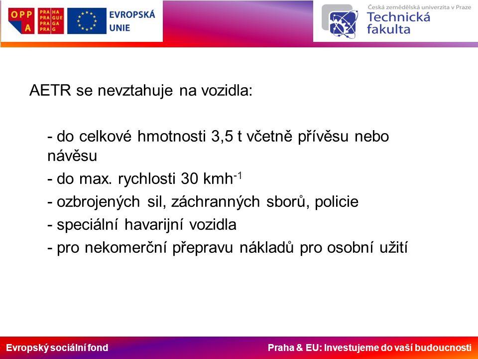 Evropský sociální fond Praha & EU: Investujeme do vaší budoucnosti AETR se nevztahuje na vozidla: - do celkové hmotnosti 3,5 t včetně přívěsu nebo náv