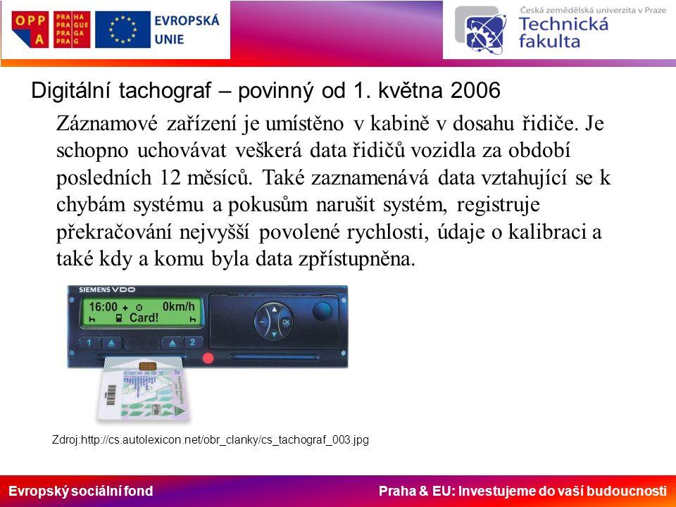 Evropský sociální fond Praha & EU: Investujeme do vaší budoucnosti Digitální tachograf – povinný od 1. května 2006 Záznamové zařízení je umístěno v ka