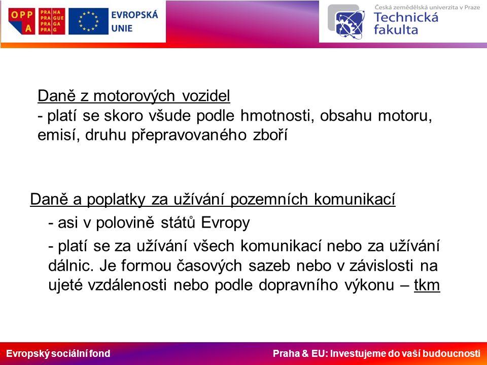 Evropský sociální fond Praha & EU: Investujeme do vaší budoucnosti Daně z motorových vozidel - platí se skoro všude podle hmotnosti, obsahu motoru, emisí, druhu přepravovaného zboří Daně a poplatky za užívání pozemních komunikací - asi v polovině států Evropy - platí se za užívání všech komunikací nebo za užívání dálnic.