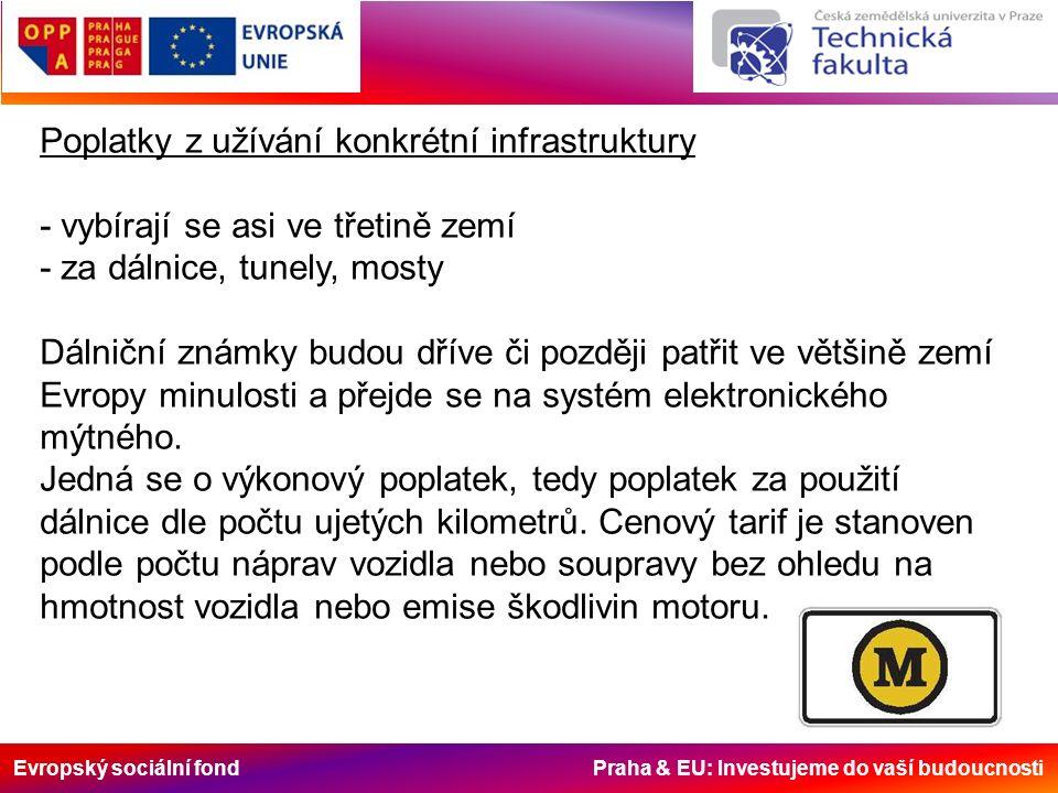 Evropský sociální fond Praha & EU: Investujeme do vaší budoucnosti Poplatky z užívání konkrétní infrastruktury - vybírají se asi ve třetině zemí - za dálnice, tunely, mosty Dálniční známky budou dříve či později patřit ve většině zemí Evropy minulosti a přejde se na systém elektronického mýtného.