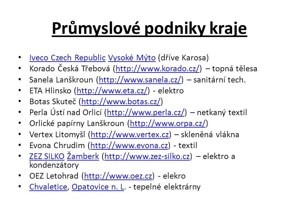 Průmyslové podniky kraje Iveco Czech Republic Vysoké Mýto (dříve Karosa) Iveco Czech RepublicVysoké Mýto Korado Česká Třebová (http://www.korado.cz/) – topná tělesahttp://www.korado.cz/ Sanela Lanškroun (http://www.sanela.cz/) – sanitární tech.http://www.sanela.cz/ ETA Hlinsko (http://www.eta.cz/) - elektrohttp://www.eta.cz/ Botas Skuteč (http://www.botas.cz/)http://www.botas.cz/ Perla Ústí nad Orlicí (http://www.perla.cz/) – netkaný textilhttp://www.perla.cz/ Orlické papírny Lanškroun (http://www.orpa.cz/)http://www.orpa.cz/ Vertex Litomyšl (http://www.vertex.cz) – skleněná vláknahttp://www.vertex.cz Evona Chrudim (http://www.evona.cz) - textilhttp://www.evona.cz ZEZ SILKO Žamberk (http://www.zez-silko.cz) – elektro a kondenzátory ZEZ SILKOŽamberkhttp://www.zez-silko.cz OEZ Letohrad (http://www.oez.cz) - elekrohttp://www.oez.cz Chvaletice, Opatovice n.