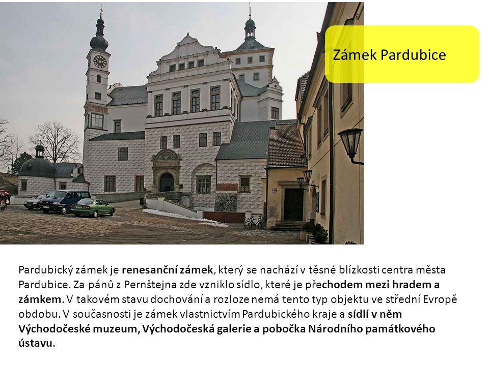 Zámek Pardubice Pardubický zámek je renesanční zámek, který se nachází v těsné blízkosti centra města Pardubice.