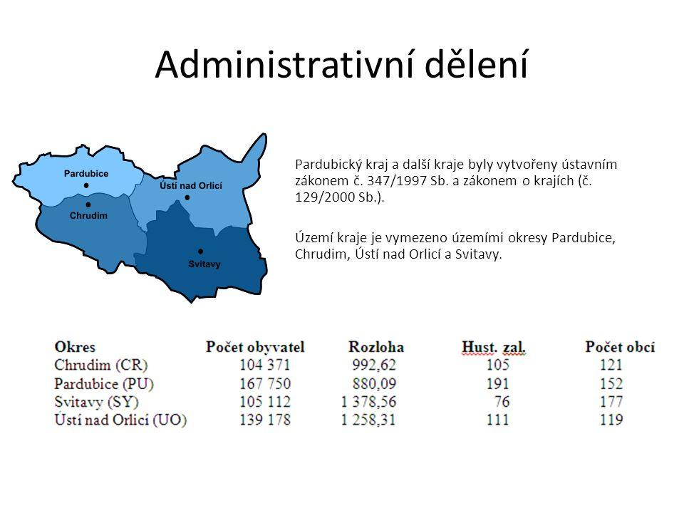 Administrativní dělení Pardubický kraj a další kraje byly vytvořeny ústavním zákonem č.