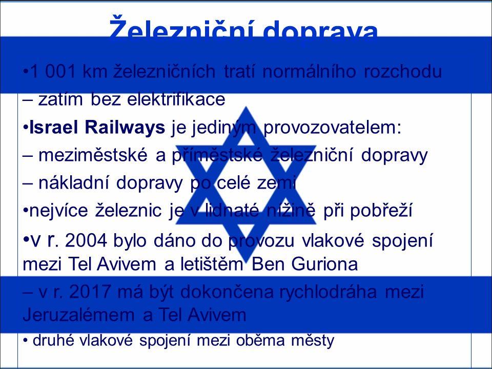 Železniční doprava 1 001 km železničních tratí normálního rozchodu – zatím bez elektrifikace Israel Railways je jediným provozovatelem: – meziměstské a příměstské železniční dopravy – nákladní dopravy po celé zemi nejvíce železnic je v lidnaté nížině při pobřeží v r.