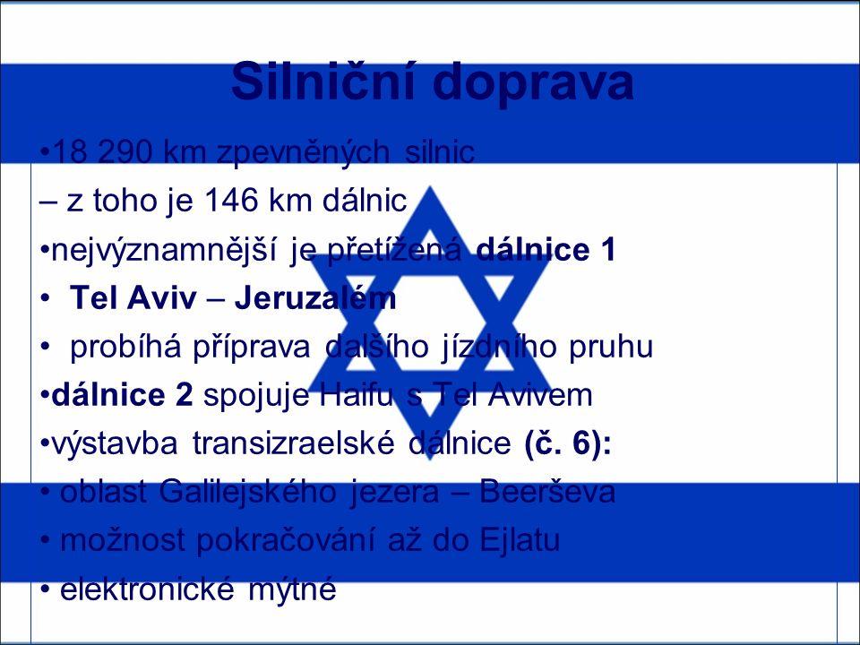 Silniční doprava 18 290 km zpevněných silnic – z toho je 146 km dálnic nejvýznamnější je přetížená dálnice 1 Tel Aviv – Jeruzalém probíhá příprava dalšího jízdního pruhu dálnice 2 spojuje Haifu s Tel Avivem výstavba transizraelské dálnice (č.