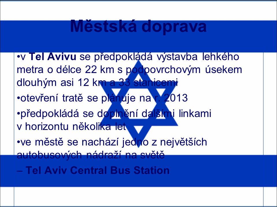 Městská doprava v Tel Avivu se předpokládá výstavba lehkého metra o délce 22 km s podpovrchovým úsekem dlouhým asi 12 km a 33 stanicemi otevření tratě se plánuje na r.