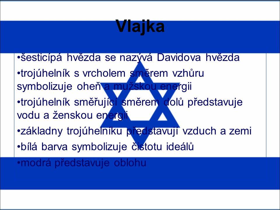 Vlajka šesticípá hvězda se nazývá Davidova hvězda trojúhelník s vrcholem směrem vzhůru symbolizuje oheň a mužskou energii trojúhelník směřující směrem dolů představuje vodu a ženskou energii základny trojúhelníku představují vzduch a zemi bílá barva symbolizuje čistotu ideálů modrá představuje oblohu