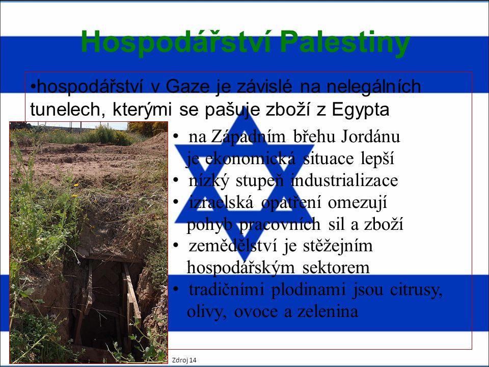 Hospodářství Palestiny hospodářství v Gaze je závislé na nelegálních tunelech, kterými se pašuje zboží z Egypta na Západním břehu Jordánu je ekonomická situace lepší nízký stupeň industrializace izraelská opatření omezují pohyb pracovních sil a zboží zemědělství je stěžejním hospodářským sektorem tradičními plodinami jsou citrusy, olivy, ovoce a zelenina Zdroj 14