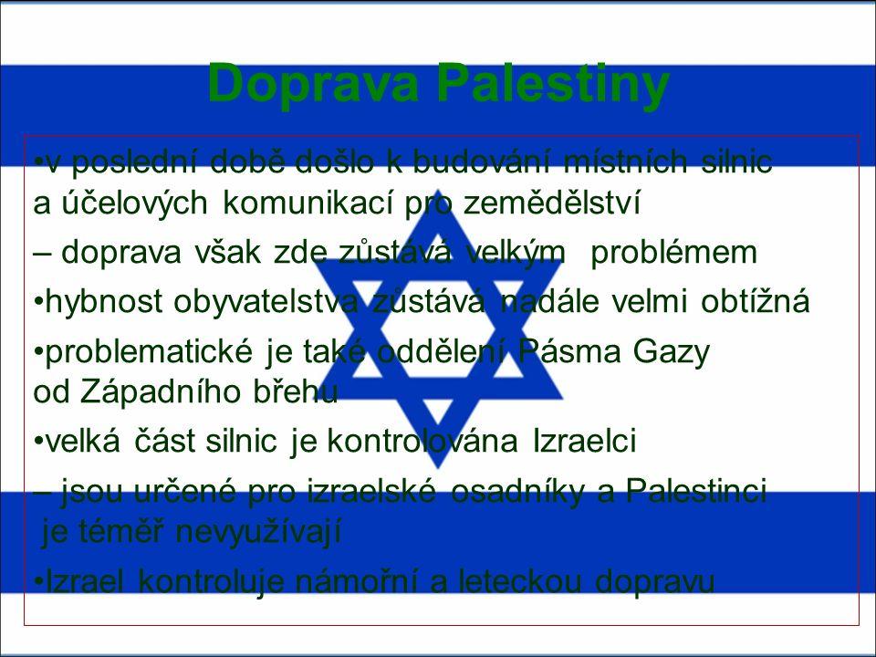 Doprava Palestiny v poslední době došlo k budování místních silnic a účelových komunikací pro zemědělství – doprava však zde zůstává velkým problémem hybnost obyvatelstva zůstává nadále velmi obtížná problematické je také oddělení Pásma Gazy od Západního břehu velká část silnic je kontrolována Izraelci – jsou určené pro izraelské osadníky a Palestinci je téměř nevyužívají Izrael kontroluje námořní a leteckou dopravu