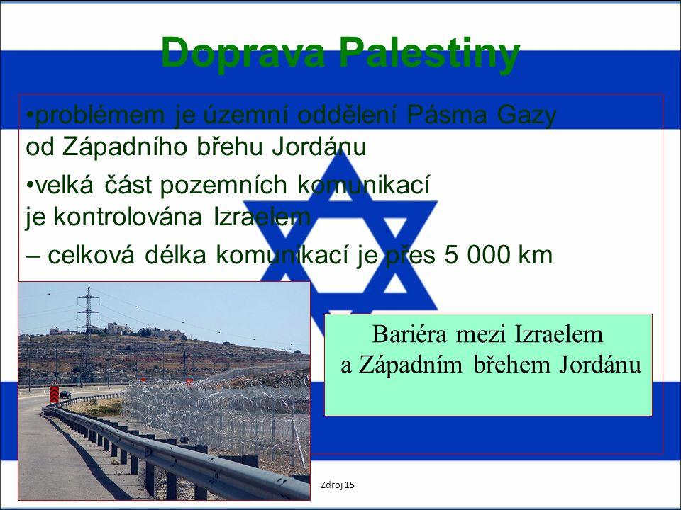 Doprava Palestiny problémem je územní oddělení Pásma Gazy od Západního břehu Jordánu velká část pozemních komunikací je kontrolována Izraelem – celková délka komunikací je přes 5 000 km Bariéra mezi Izraelem a Západním břehem Jordánu Zdroj 15