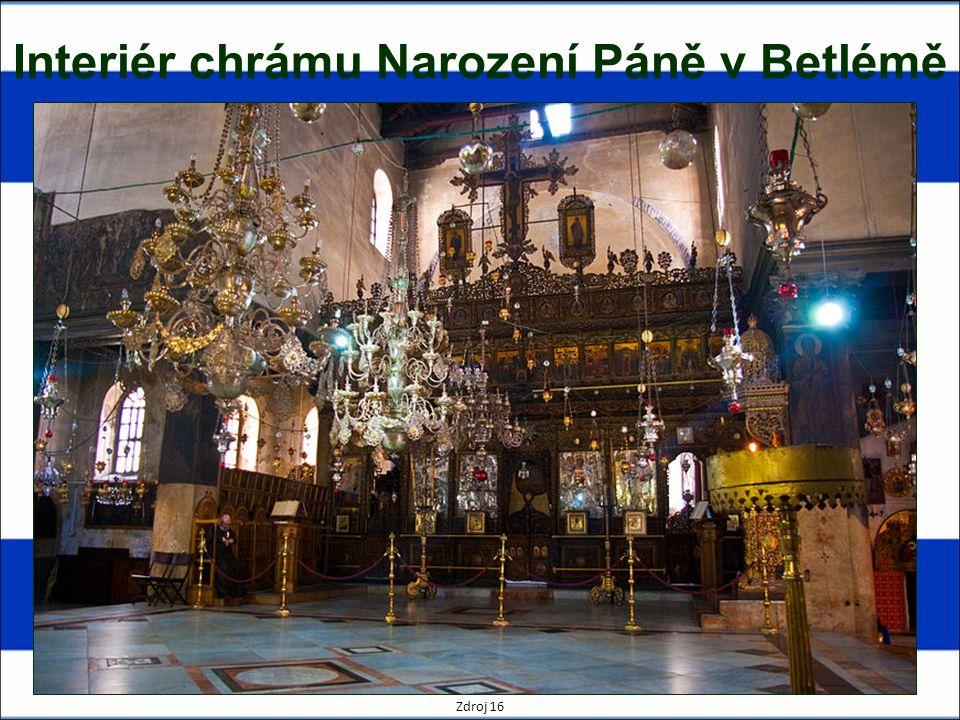 Interiér chrámu Narození Páně v Betlémě Zdroj 16