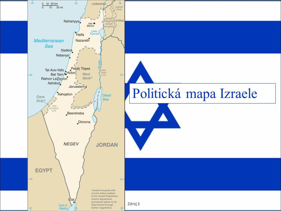 Politická mapa Izraele Zdroj 3