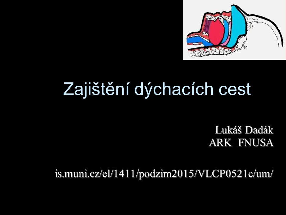 Zajištění dýchacích cest Lukáš Dadák ARK FNUSA is.muni.cz/el/1411/podzim2015/VLCP0521c/um/