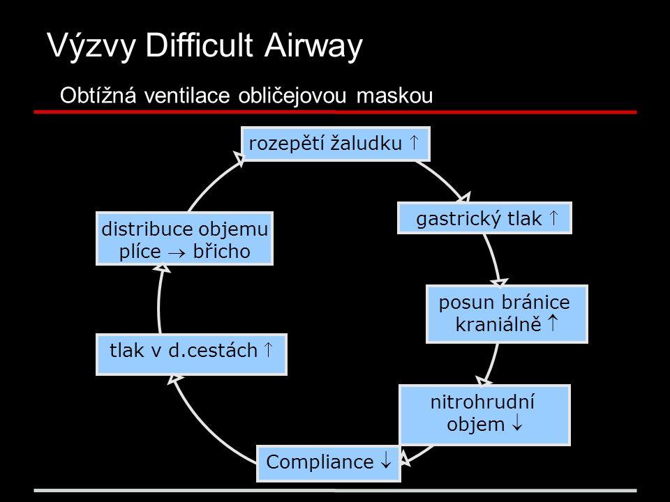 Výzvy Difficult Airway Obtížná ventilace obličejovou maskou rozepětí žaludku  Compliance  gastrický tlak  posun bránice kraniálně  nitrohrudní objem  tlak v d.cestách  distribuce objemu plíce  břicho