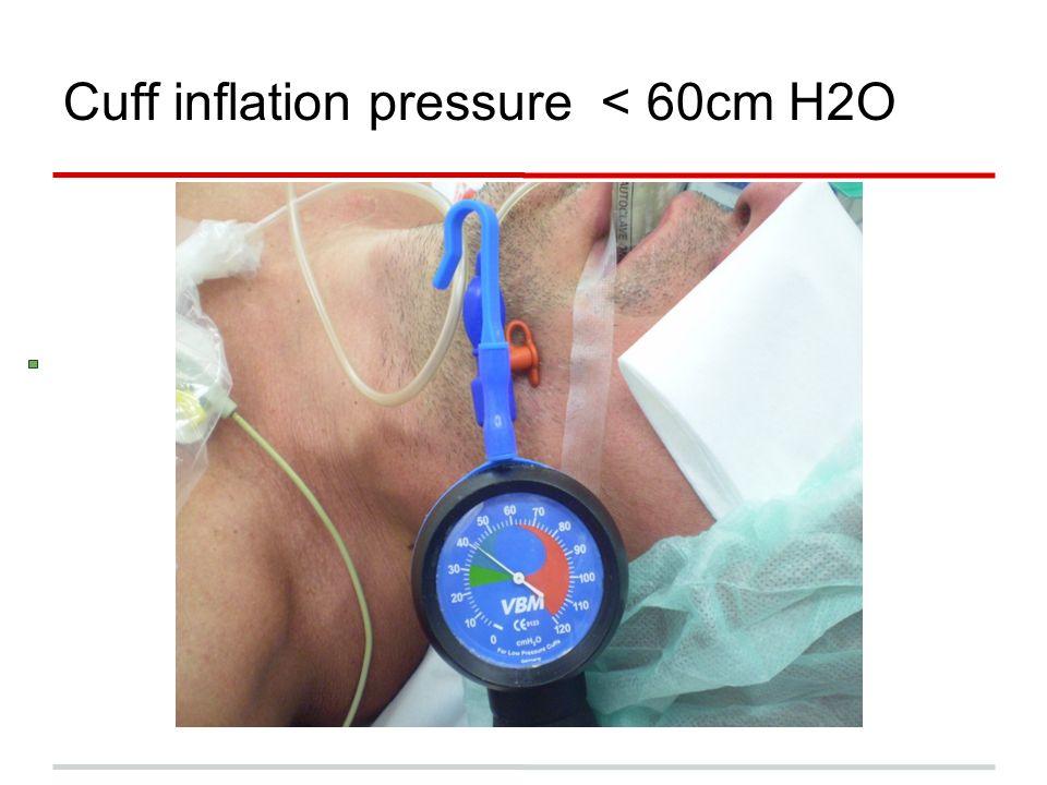 Cuff inflation pressure < 60cm H2O