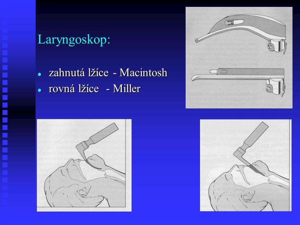 zahnutá lžíce - Macintosh zahnutá lžíce - Macintosh rovná lžíce - Miller rovná lžíce - Miller Laryngoskop: