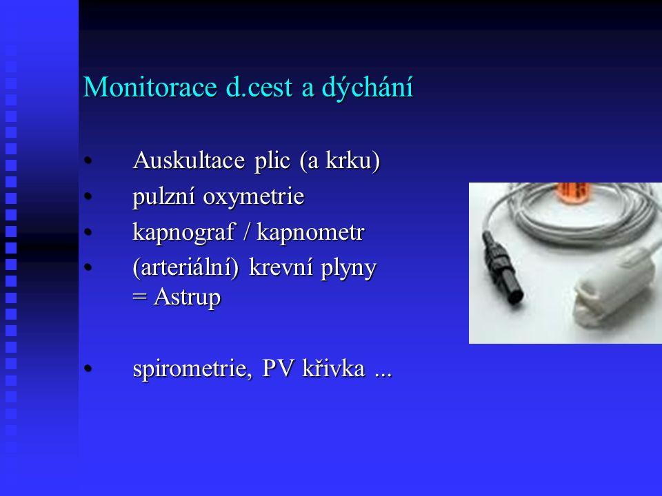 Monitorace d.cest a dýchání Auskultace plic (a krku)Auskultace plic (a krku) pulzní oxymetriepulzní oxymetrie kapnograf / kapnometrkapnograf / kapnometr (arteriální) krevní plyny = Astrup(arteriální) krevní plyny = Astrup spirometrie, PV křivka...spirometrie, PV křivka...