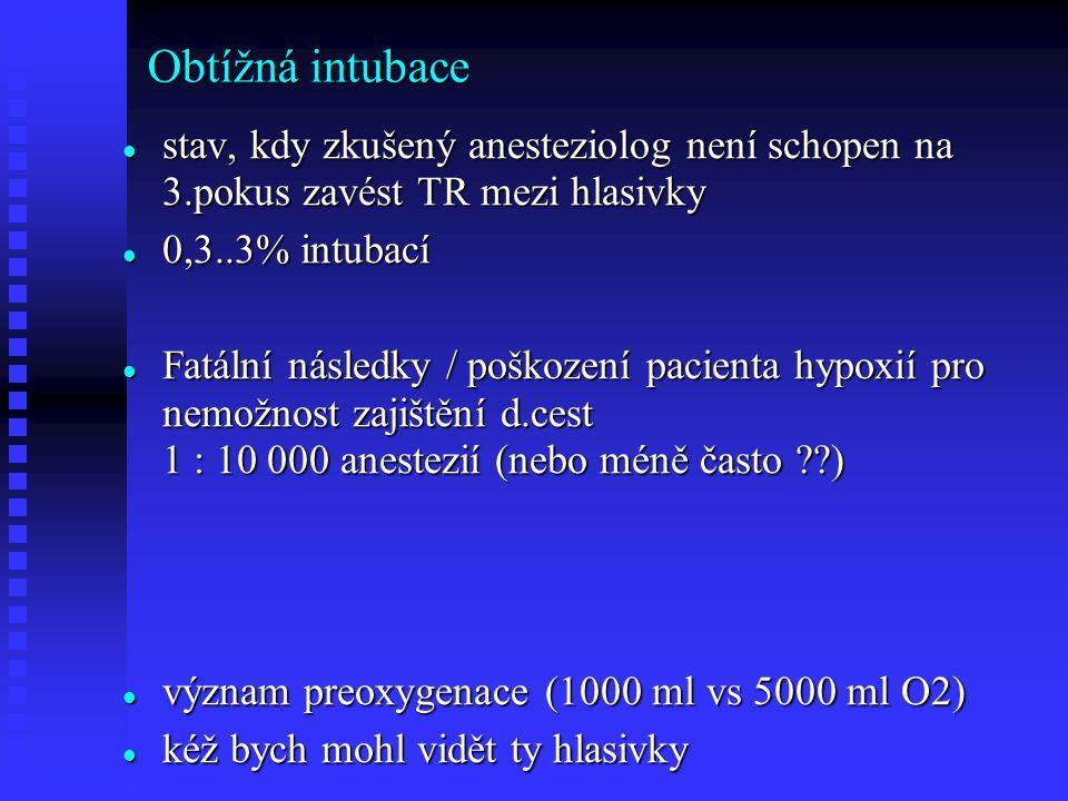 Obtížná intubace stav, kdy zkušený anesteziolog není schopen na 3.pokus zavést TR mezi hlasivky stav, kdy zkušený anesteziolog není schopen na 3.pokus zavést TR mezi hlasivky 0,3..3% intubací 0,3..3% intubací Fatální následky / poškození pacienta hypoxií pro nemožnost zajištění d.cest 1 : 10 000 anestezií (nebo méně často ) Fatální následky / poškození pacienta hypoxií pro nemožnost zajištění d.cest 1 : 10 000 anestezií (nebo méně často ) význam preoxygenace (1000 ml vs 5000 ml O2) význam preoxygenace (1000 ml vs 5000 ml O2) kéž bych mohl vidět ty hlasivky kéž bych mohl vidět ty hlasivky