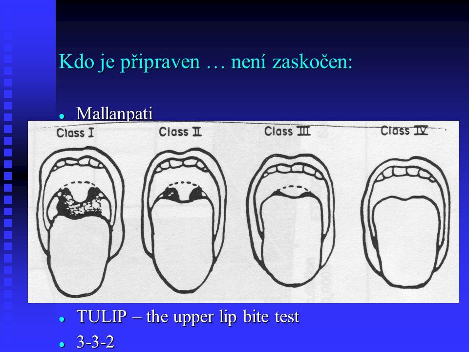 Kdo je připraven … není zaskočen: Mallanpati Mallanpati TULIP – the upper lip bite test TULIP – the upper lip bite test 3-3-2 3-3-2