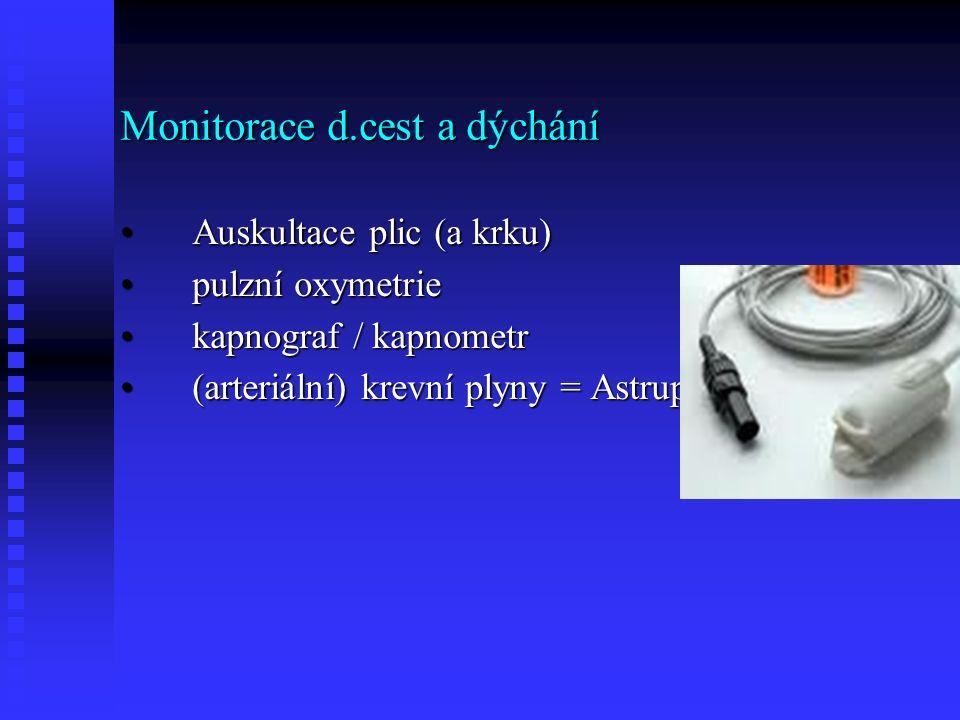 Monitorace d.cest a dýchání Auskultace plic (a krku)Auskultace plic (a krku) pulzní oxymetriepulzní oxymetrie kapnograf / kapnometrkapnograf / kapnometr (arteriální) krevní plyny = Astrup(arteriální) krevní plyny = Astrup