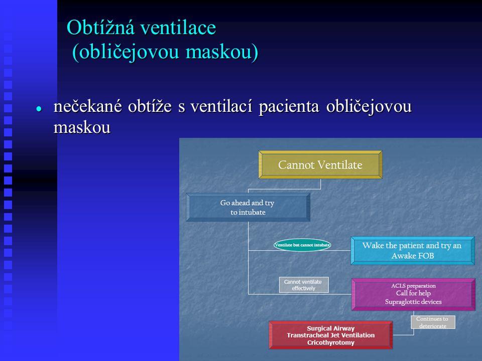 Obtížná ventilace (obličejovou maskou) nečekané obtíže s ventilací pacienta obličejovou maskou nečekané obtíže s ventilací pacienta obličejovou maskou