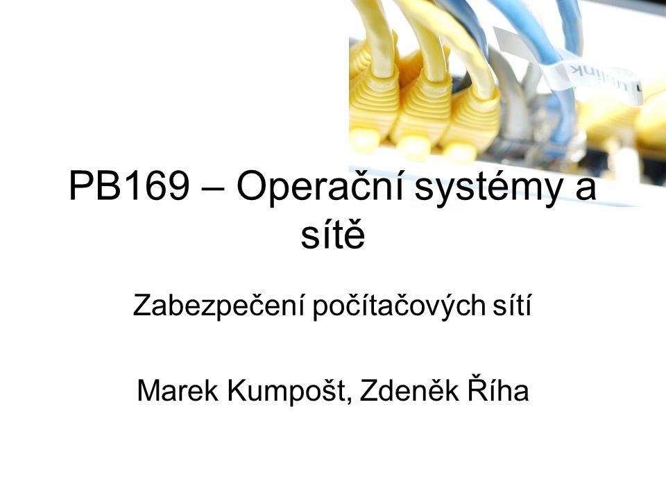 PB169 – Operační systémy a sítě Zabezpečení počítačových sítí Marek Kumpošt, Zdeněk Říha
