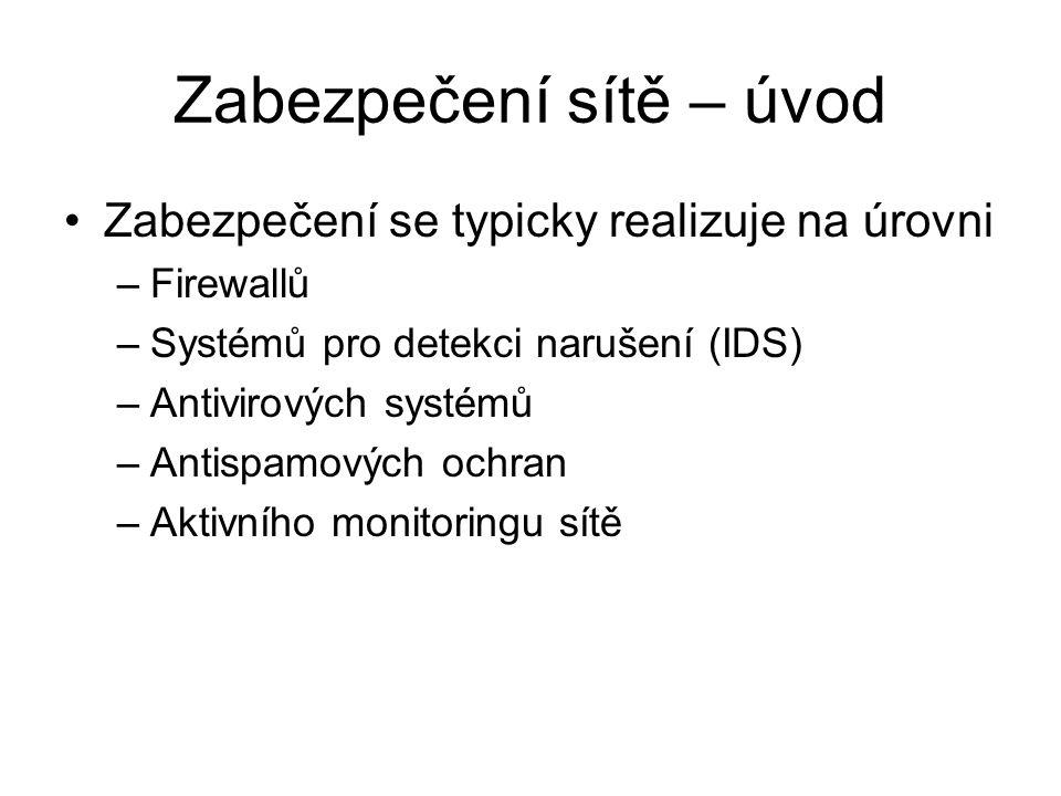 Zabezpečení sítě – úvod Zabezpečení se typicky realizuje na úrovni –Firewallů –Systémů pro detekci narušení (IDS) –Antivirových systémů –Antispamových ochran –Aktivního monitoringu sítě