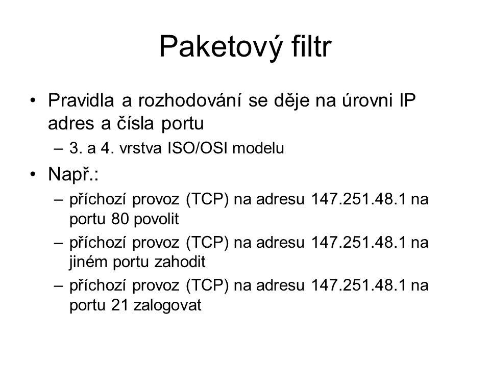 Paketový filtr Pravidla a rozhodování se děje na úrovni IP adres a čísla portu –3.