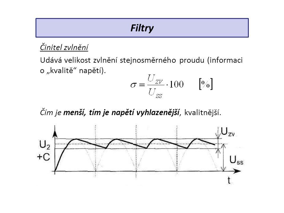 """Činitel zvlnění Udává velikost zvlnění stejnosměrného proudu (informaci o """"kvalitě"""" napětí). Čím je menší, tím je napětí vyhlazenější, kvalitnější. Fi"""
