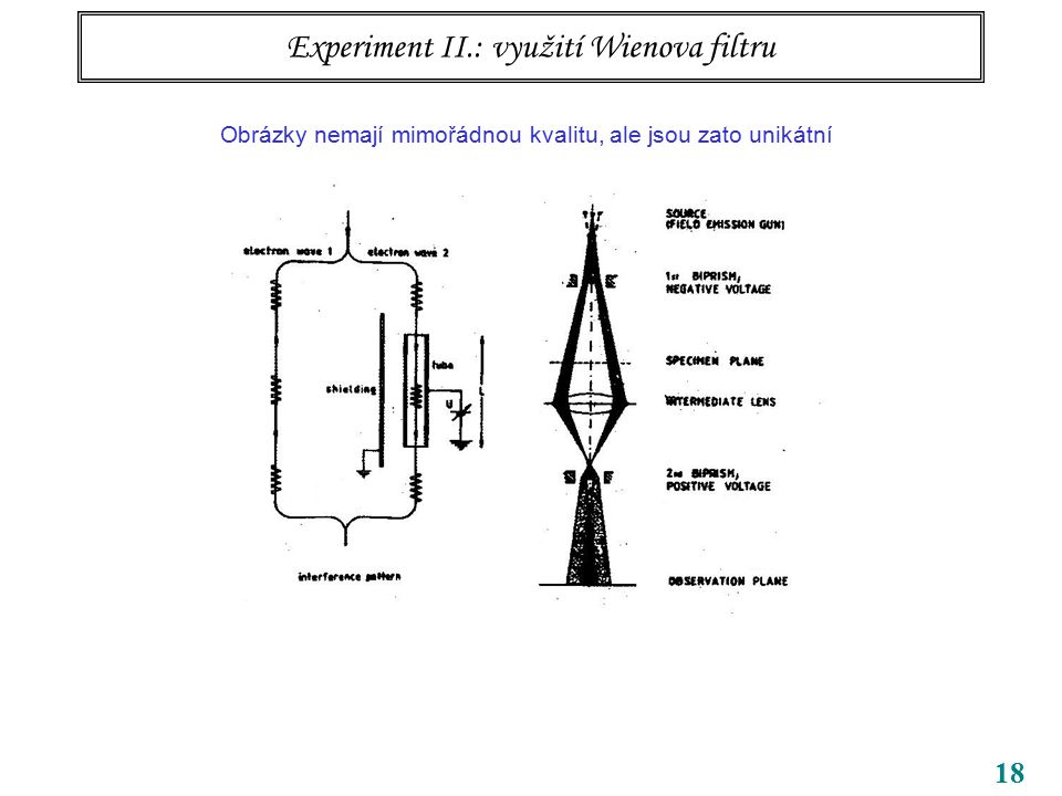 18 Experiment II.: využití Wienova filtru Obrázky nemají mimořádnou kvalitu, ale jsou zato unikátní