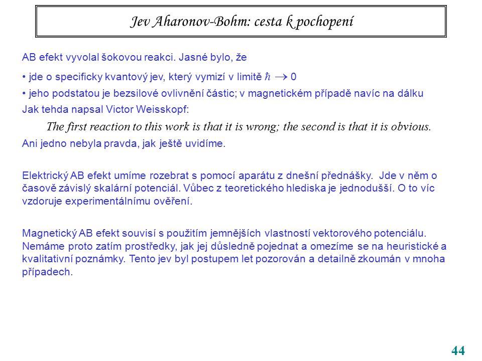 44 Jev Aharonov-Bohm: cesta k pochopení AB efekt vyvolal šokovou reakci. Jasné bylo, že jde o specificky kvantový jev, který vymizí v limitě   0 jeh