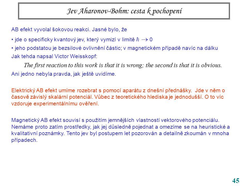 45 Jev Aharonov-Bohm: cesta k pochopení AB efekt vyvolal šokovou reakci. Jasné bylo, že jde o specificky kvantový jev, který vymizí v limitě   0 jeh