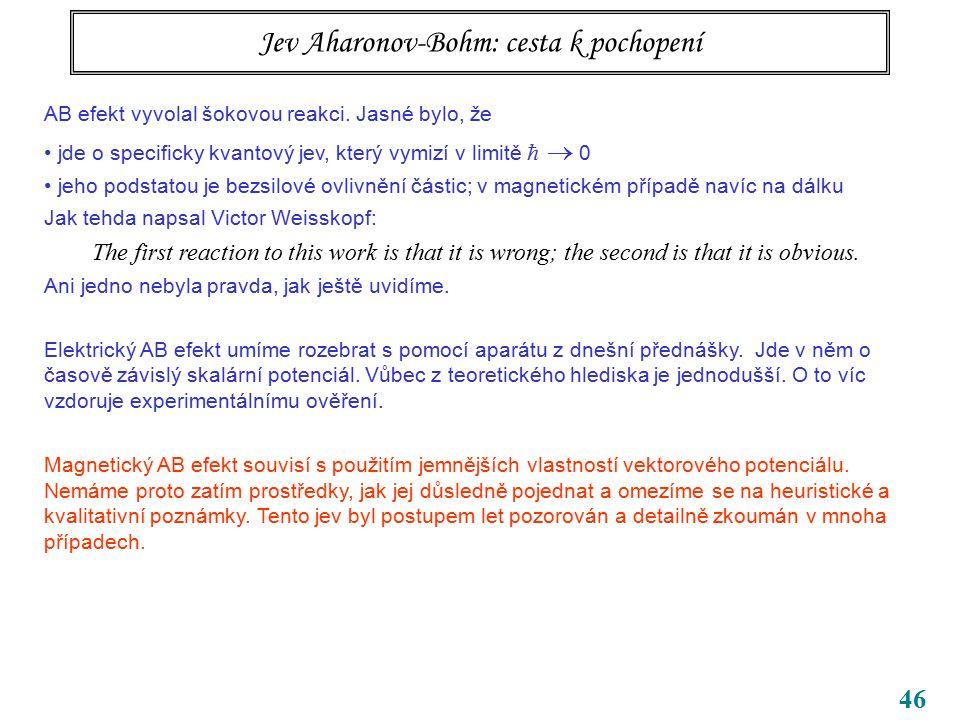 46 Jev Aharonov-Bohm: cesta k pochopení AB efekt vyvolal šokovou reakci. Jasné bylo, že jde o specificky kvantový jev, který vymizí v limitě   0 jeh